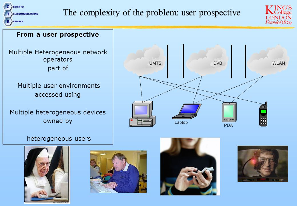 From a network prospective Multiple Heterogeneous network operators providing Multiple services through multiple access networks to users with heterogeneous devices The complexity of the problem: network prospective