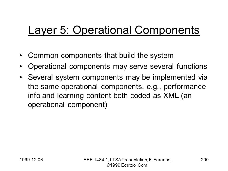 1999-12-06IEEE 1484.1, LTSA Presentation, F. Farance, ©1999 Edutool.Com 200 Layer 5: Operational Components Common components that build the system Op