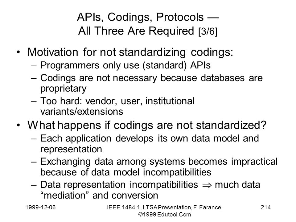 1999-12-06IEEE 1484.1, LTSA Presentation, F. Farance, ©1999 Edutool.Com 214 APIs, Codings, Protocols All Three Are Required [3/6] Motivation for not s