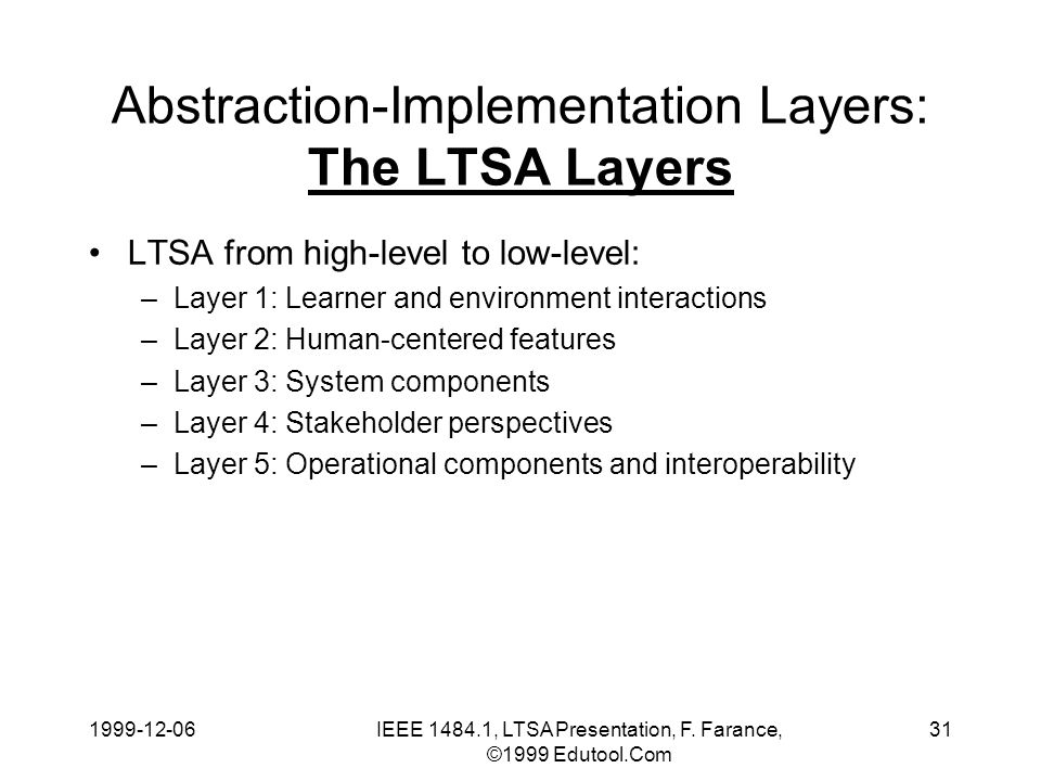 1999-12-06IEEE 1484.1, LTSA Presentation, F. Farance, ©1999 Edutool.Com 31 Abstraction-Implementation Layers: The LTSA Layers LTSA from high-level to