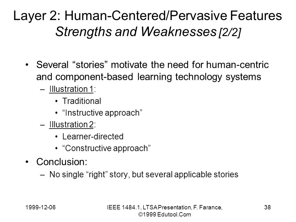 1999-12-06IEEE 1484.1, LTSA Presentation, F. Farance, ©1999 Edutool.Com 38 Layer 2: Human-Centered/Pervasive Features Strengths and Weaknesses [2/2] S