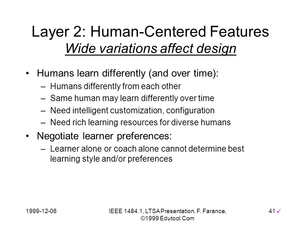 1999-12-06IEEE 1484.1, LTSA Presentation, F. Farance, ©1999 Edutool.Com 41 Layer 2: Human-Centered Features Wide variations affect design Humans learn