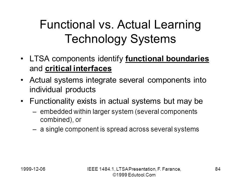 1999-12-06IEEE 1484.1, LTSA Presentation, F. Farance, ©1999 Edutool.Com 84 Functional vs.