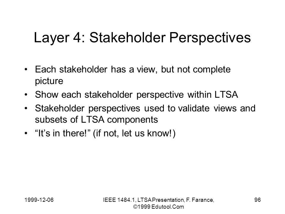 1999-12-06IEEE 1484.1, LTSA Presentation, F. Farance, ©1999 Edutool.Com 96 Layer 4: Stakeholder Perspectives Each stakeholder has a view, but not comp