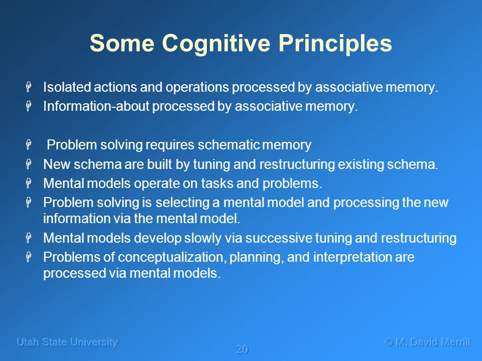 20 Some Cognitive Principles HIsolated actions and operations processed by associative memory. HInformation-about processed by associative memory. H P