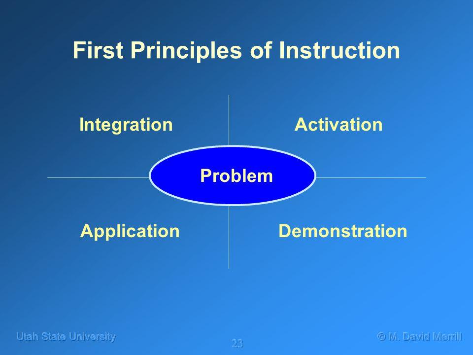 23 First Principles of Instruction Problem Activation DemonstrationApplication Integration