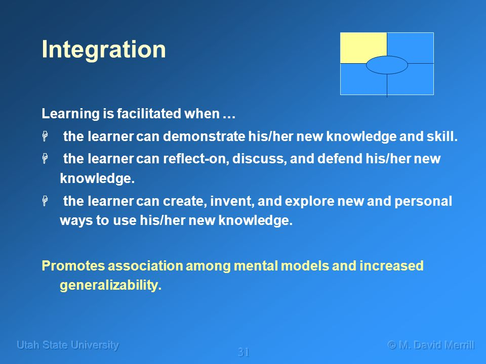 31 Integration Learning is facilitated when … H the learner can demonstrate his/her new knowledge and skill.