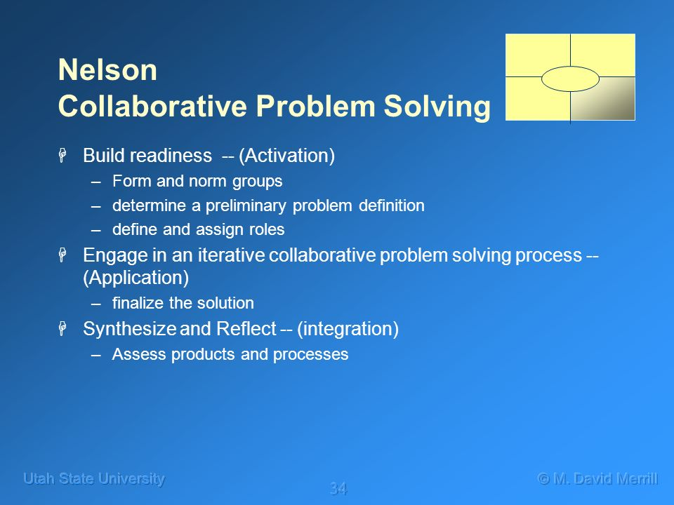 34 Nelson Collaborative Problem Solving HBuild readiness -- (Activation) –Form and norm groups –determine a preliminary problem definition –define and assign roles HEngage in an iterative collaborative problem solving process -- (Application) –finalize the solution HSynthesize and Reflect -- (integration) –Assess products and processes