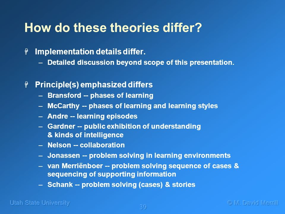 39 How do these theories differ? HImplementation details differ. –Detailed discussion beyond scope of this presentation. HPrinciple(s) emphasized diff