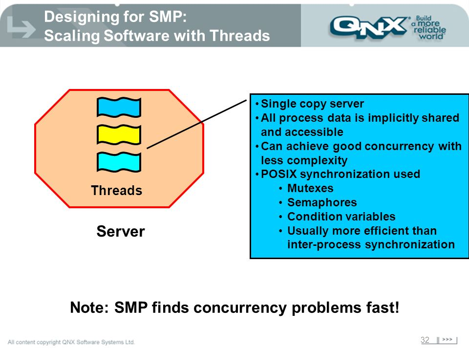 32 Designing for SMP: Scaling Software with Threads Threads Server Single copy server All process data is implicitly shared and accessible Can achieve
