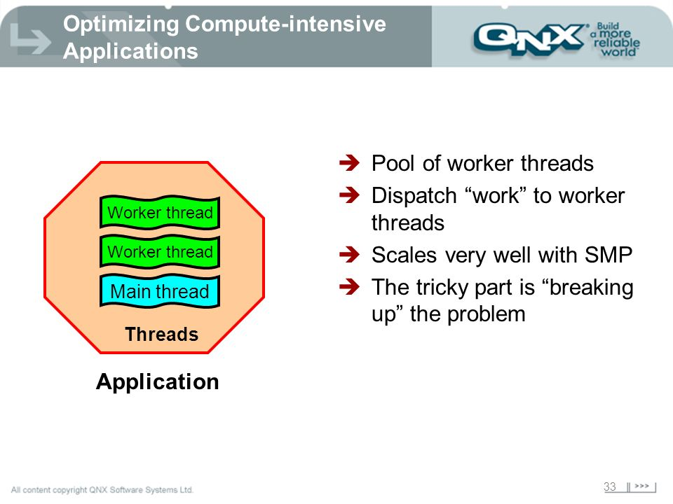 33 Optimizing Compute-intensive Applications Main thread Threads Application Worker thread Pool of worker threads Dispatch work to worker threads Scal