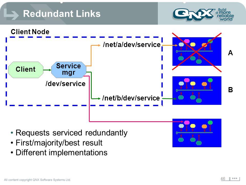 46 Client Client Node A B /net/a/dev/service /net/b/dev/service Service mgr /dev/service Requests serviced redundantly First/majority/best result Different implementations Redundant Links