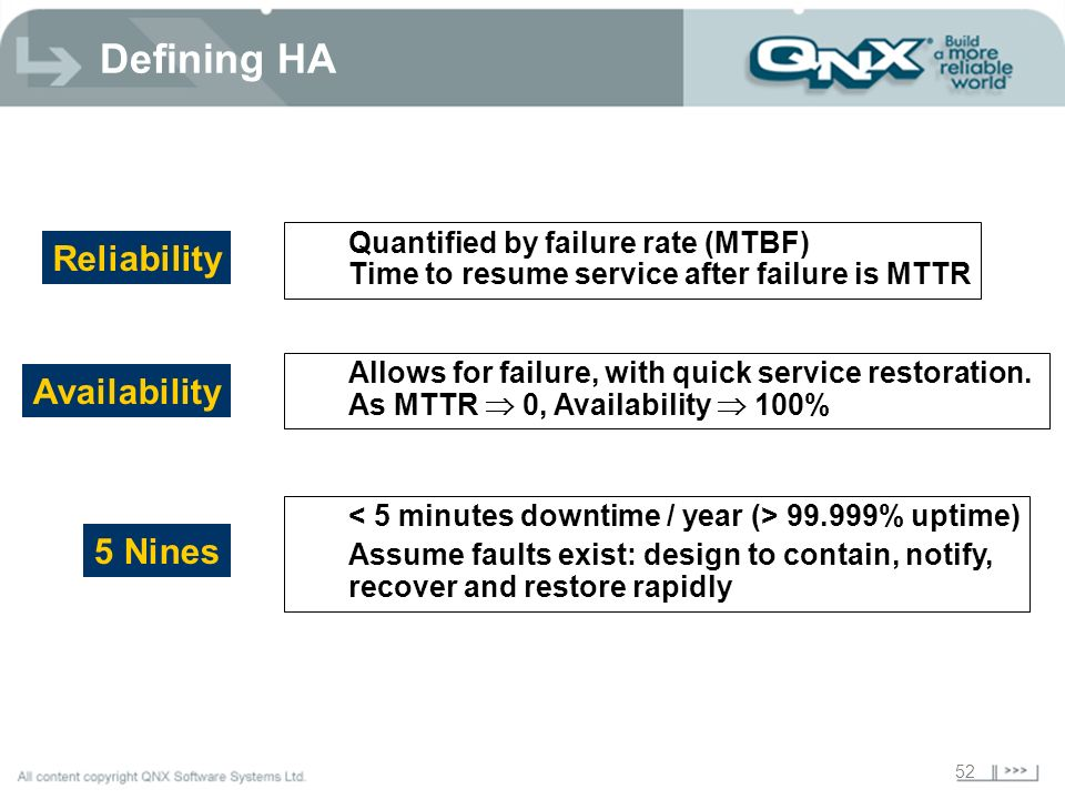 52 Defining HA Quantified by failure rate (MTBF) Time to resume service after failure is MTTR Reliability Allows for failure, with quick service resto
