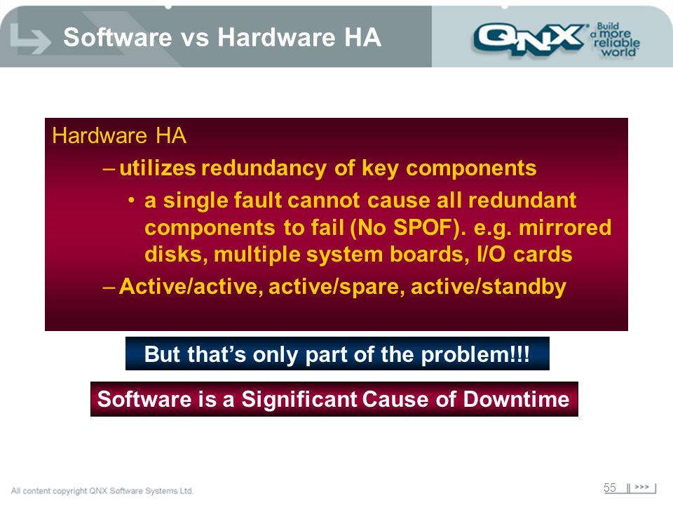 55 Software vs Hardware HA Hardware HA –utilizes redundancy of key components a single fault cannot cause all redundant components to fail (No SPOF).