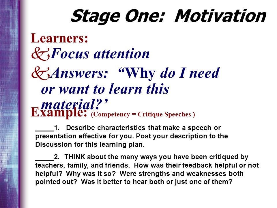 Application Motivation PracticeComprehension The Learning Cycle