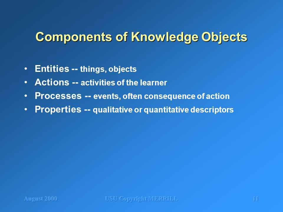 August 2000USU Copyright MERRILL11 Components of Knowledge Objects Entities -- things, objects Actions -- activities of the learner Processes -- event