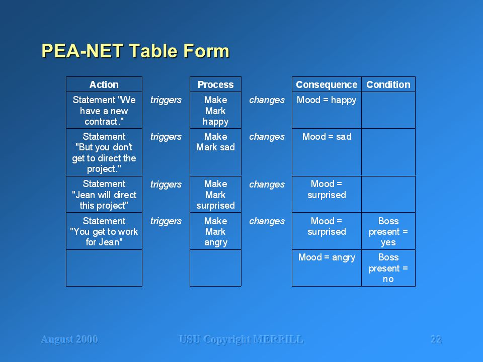 August 2000USU Copyright MERRILL22 PEA-NET Table Form