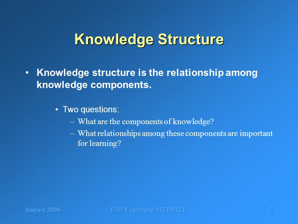 August 2000USU Copyright MERRILL5 Knowledge Structure Knowledge structure is the relationship among knowledge components. Two questions: –What are the