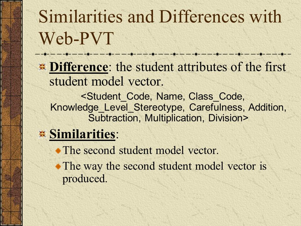 Similarities and Differences with Web-PVT Difference: the student attributes of the first student model vector.