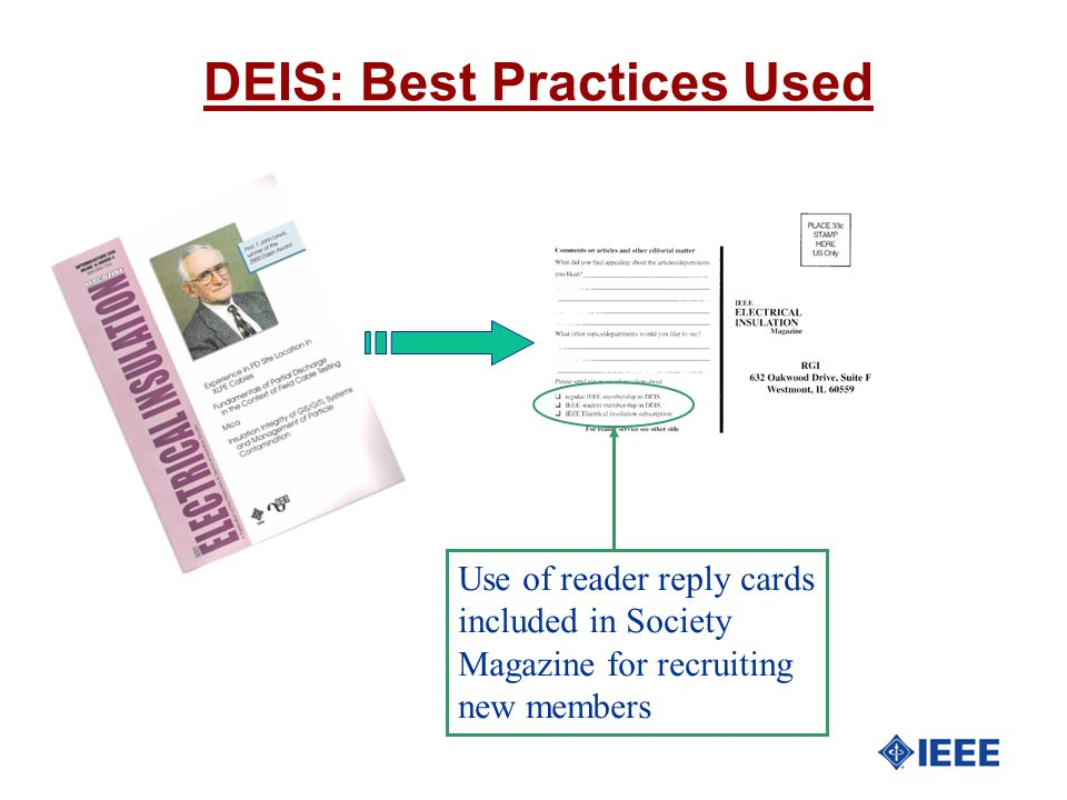 DEIS: Best Practices Used Use of reader reply cards included in Society Magazine for recruiting new members