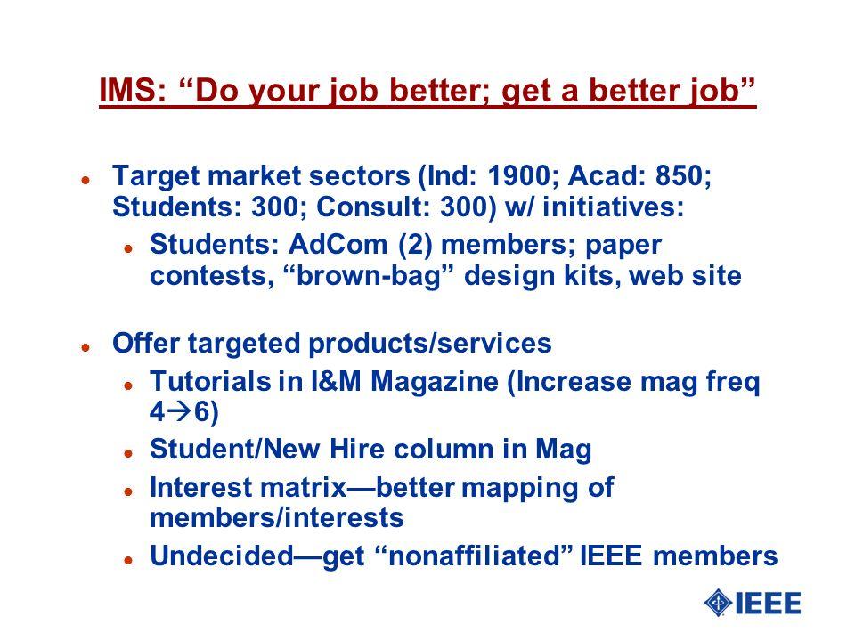IMS: Do your job better; get a better job l Target market sectors (Ind: 1900; Acad: 850; Students: 300; Consult: 300) w/ initiatives: l Students: AdCo