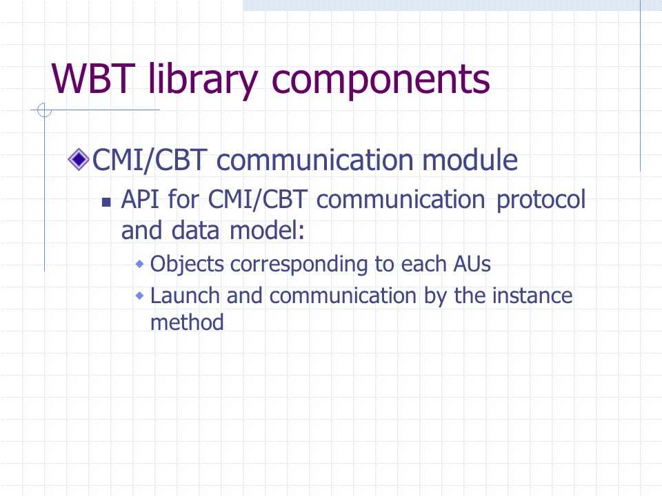 WBT library components CMI/CBT communication module API for CMI/CBT communication protocol and data model: Objects corresponding to each AUs Launch and communication by the instance method