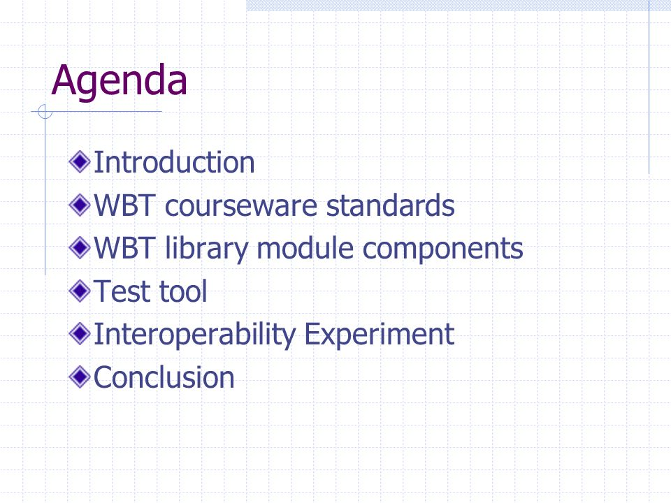 Agenda Introduction WBT courseware standards WBT library module components Test tool Interoperability Experiment Conclusion