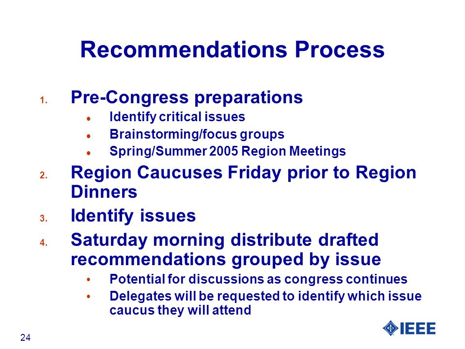 24 Recommendations Process 1.