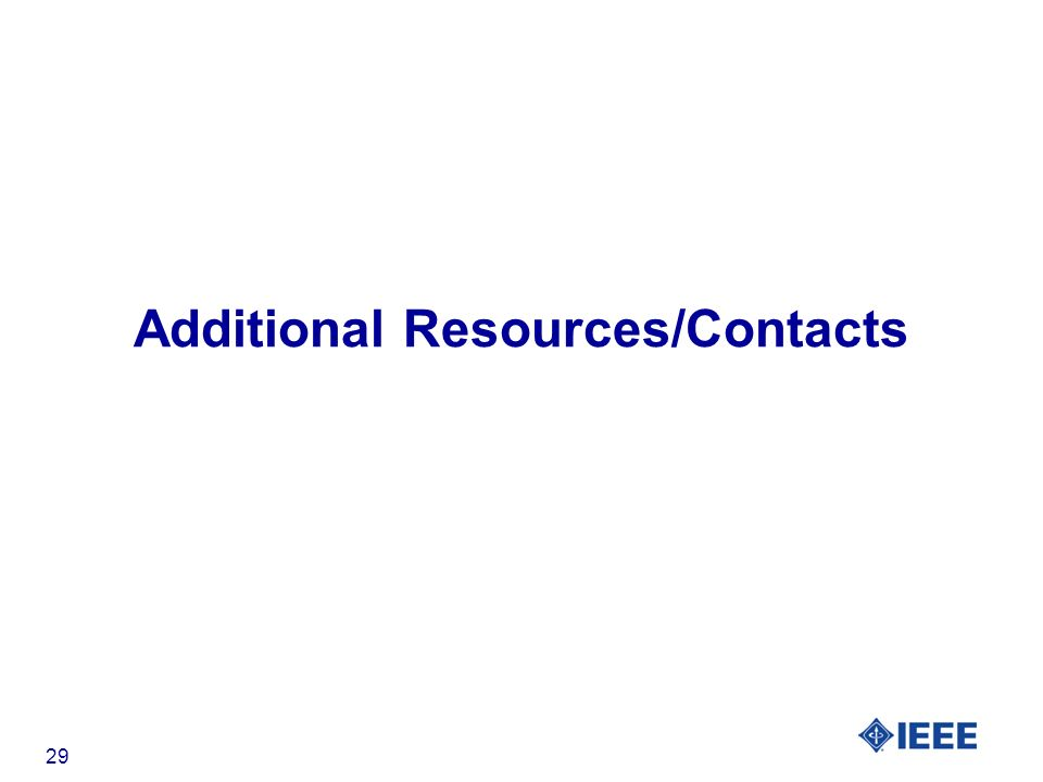 29 Additional Resources/Contacts