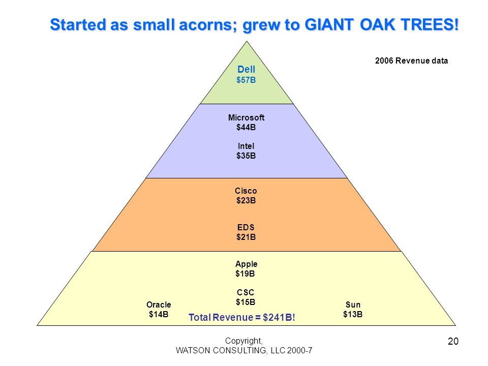 Copyright, WATSON CONSULTING, LLC 2000-7 20 Started as small acorns; grew to GIANT OAK TREES! EDS $21B Apple $19B CSC $15B Intel $35B Cisco $23B Micro