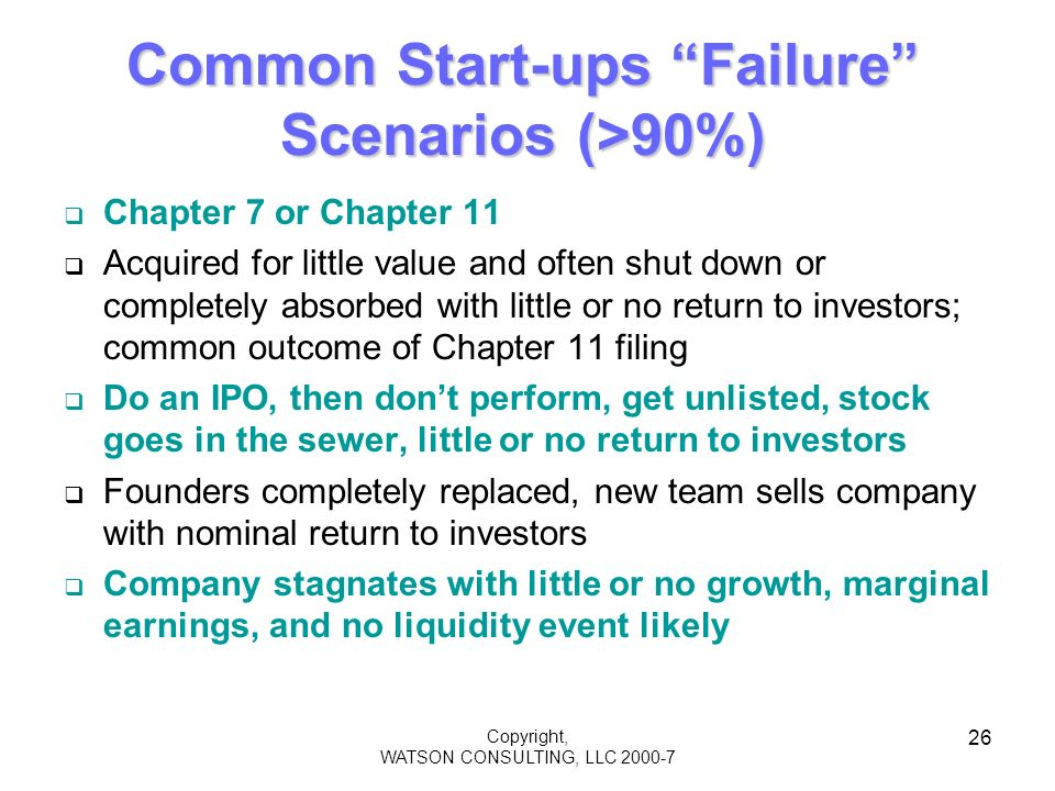 Copyright, WATSON CONSULTING, LLC 2000-7 26 Common Start-ups Failure Scenarios (>90%) Chapter 7 or Chapter 11 Acquired for little value and often shut down or completely absorbed with little or no return to investors; common outcome of Chapter 11 filing Do an IPO, then dont perform, get unlisted, stock goes in the sewer, little or no return to investors Founders completely replaced, new team sells company with nominal return to investors Company stagnates with little or no growth, marginal earnings, and no liquidity event likely