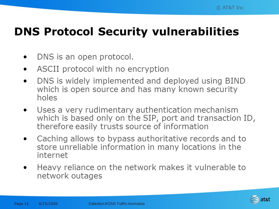 © AT&T Inc Detection of DNS Traffic Anomalies 4/25/2006 Page 11 DNS Protocol Security vulnerabilities DNS is an open protocol. ASCII protocol with no