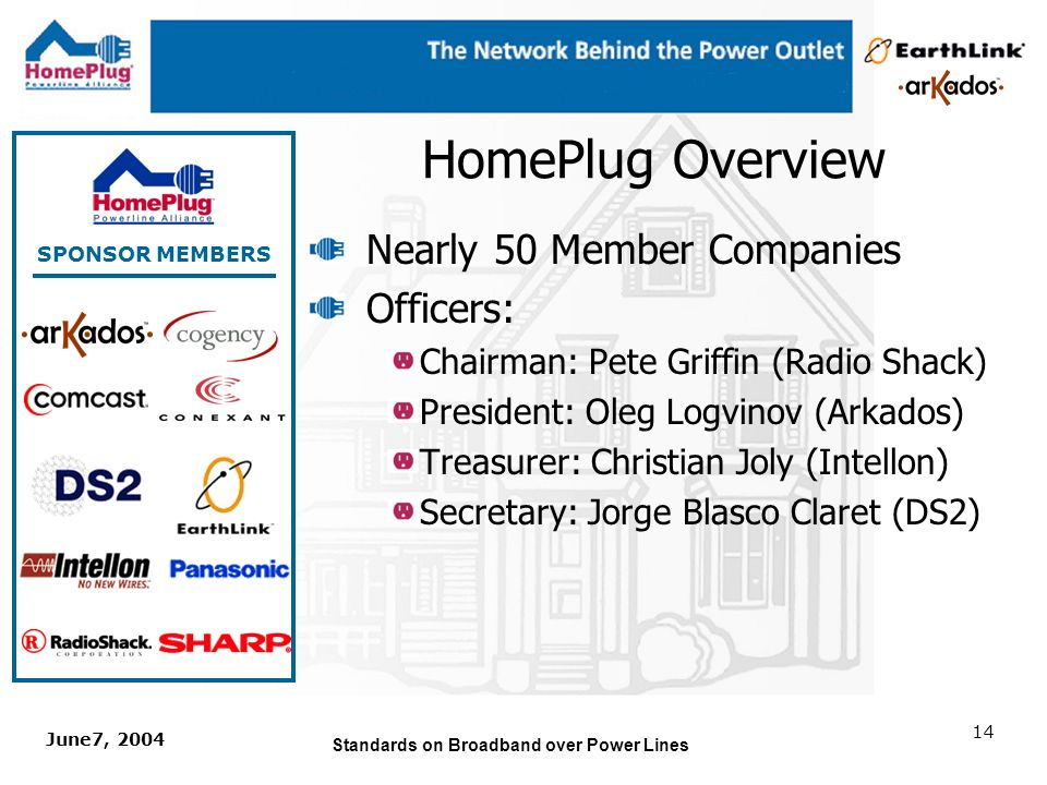 June7, 2004 Standards on Broadband over Power Lines 13 HomePlug Charter HomePlug Powerline Alliance, Inc.
