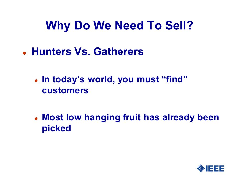 Why Do We Need To Sell. l Hunters Vs.