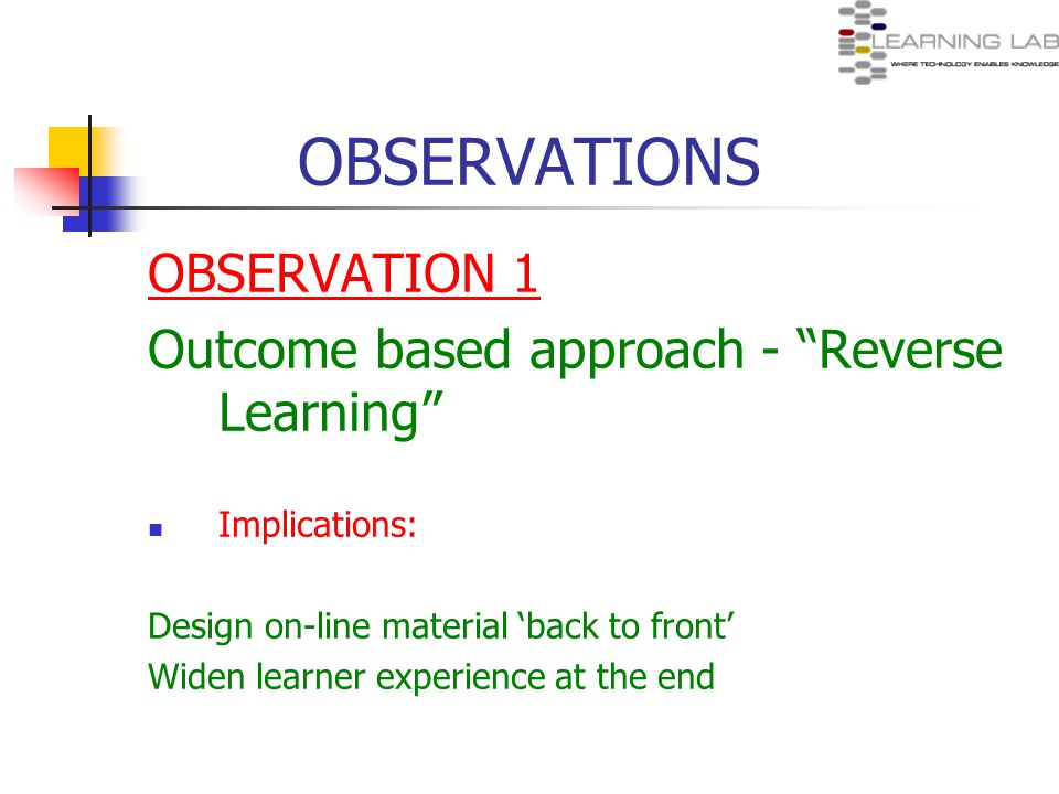 OBSERVATIONS OBSERVATION 1 Outcome based approach - Reverse Learning Implications: Design on-line material back to front Widen learner experience at t
