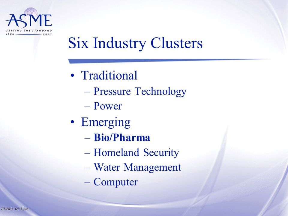 2/8/2014 12:17 AM2/8/2014 12:17 AM2/8/2014 12:17 AM Six Industry Clusters Traditional –Pressure Technology –Power Emerging –Bio/Pharma –Homeland Security –Water Management –Computer