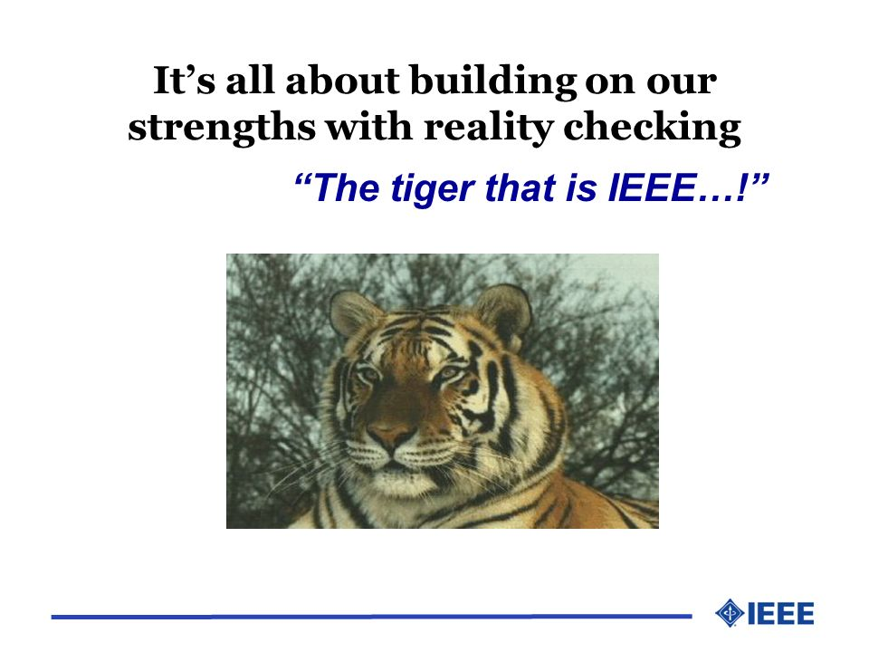 Its all about building on our strengths with reality checking The tiger that is IEEE…!