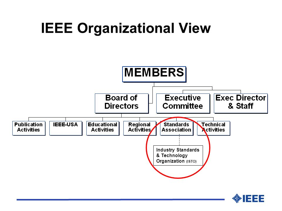 Top Three for 2005 l Grow corporate standards program l Leading-edge work gravitating toward IEEE l Continue to strengthen International Niche l Financial viability l Greater upfront investment vs sales of standards