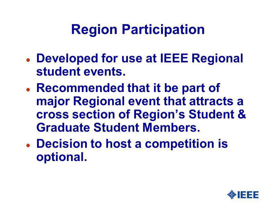 Region Participation l Developed for use at IEEE Regional student events. l Recommended that it be part of major Regional event that attracts a cross