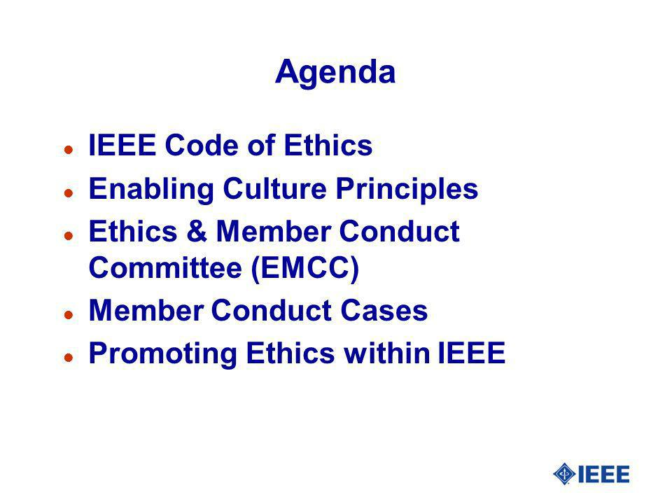 IEEE Code of Ethics l Long History – since merger with AIEE/IRE l Last revised in 1990.