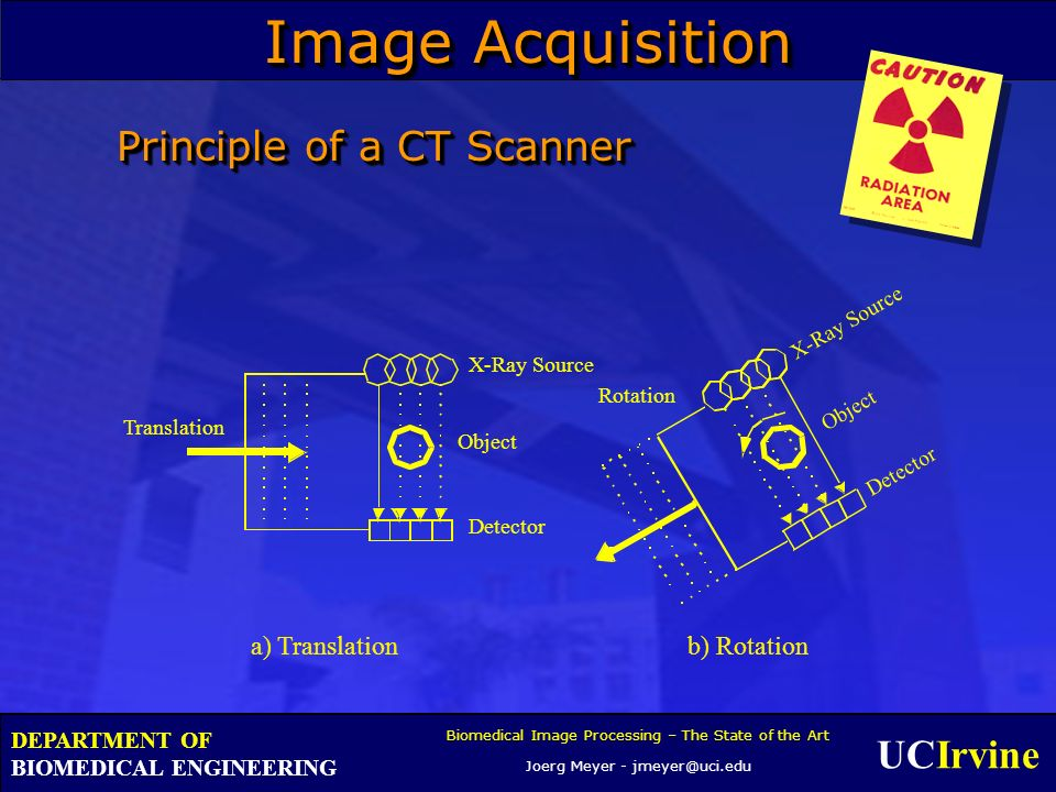 UCIrvine Biomedical Image Processing – The State of the Art Joerg Meyer - jmeyer@uci.edu DEPARTMENT OF BIOMEDICAL ENGINEERING Principle of a CT Scanner Object Translation Rotation X-Ray Source Detector Object X-Ray Source Detector a) Translation b) Rotation Image Acquisition