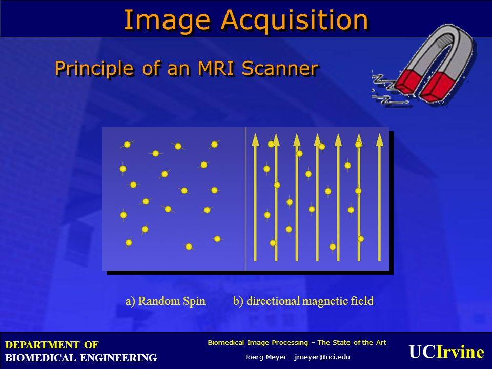 UCIrvine Biomedical Image Processing – The State of the Art Joerg Meyer - jmeyer@uci.edu DEPARTMENT OF BIOMEDICAL ENGINEERING Principle of an MRI Scanner a) Random Spin b) directional magnetic field Image Acquisition