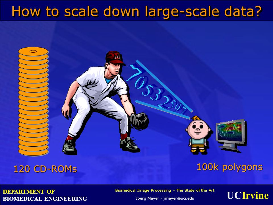 UCIrvine Biomedical Image Processing – The State of the Art Joerg Meyer - jmeyer@uci.edu DEPARTMENT OF BIOMEDICAL ENGINEERING How to scale down large-scale data.