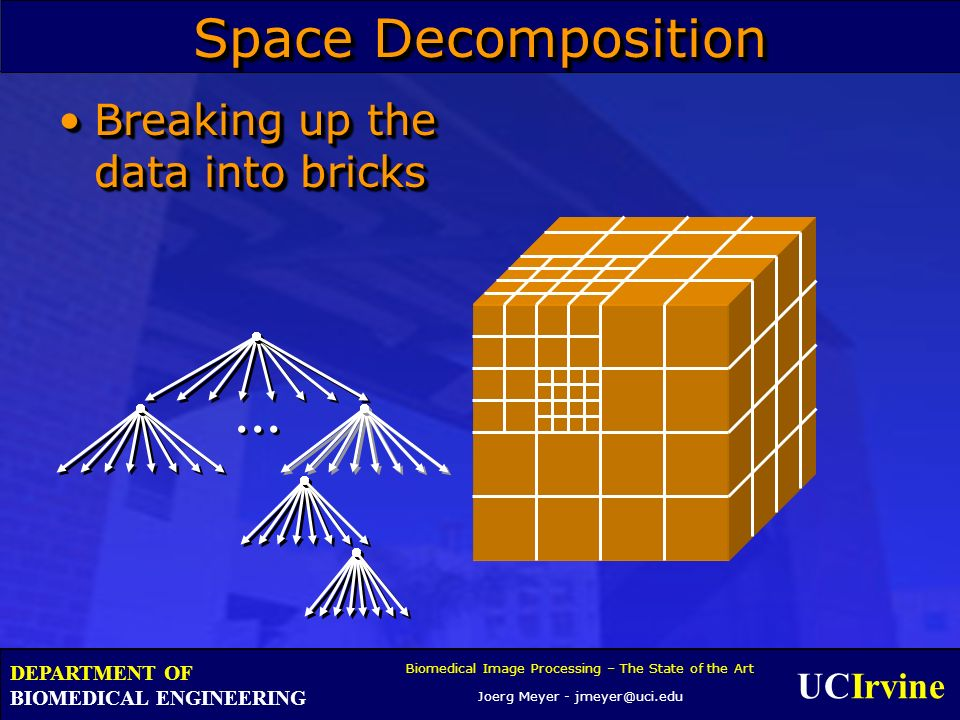 UCIrvine Biomedical Image Processing – The State of the Art Joerg Meyer - jmeyer@uci.edu DEPARTMENT OF BIOMEDICAL ENGINEERING Space Decomposition Breaking up the data into bricksBreaking up the data into bricks...