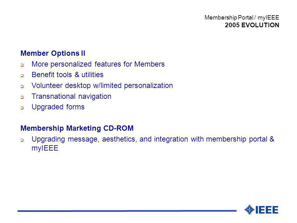 Member Options II More personalized features for Members Benefit tools & utilities Volunteer desktop w/limited personalization Transnational navigatio