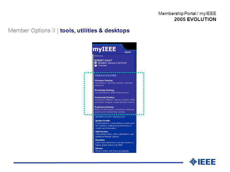 Member Options II | tools, utilities & desktops Membership Portal / myIEEE 2005 EVOLUTION