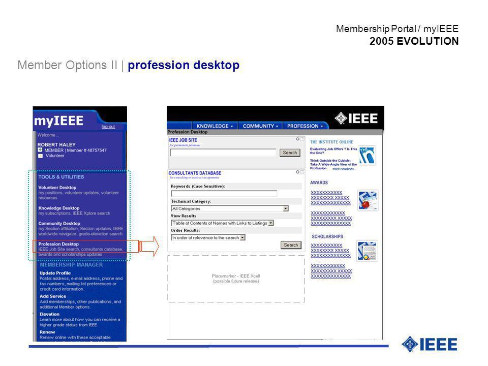 Member Options II | profession desktop Membership Portal / myIEEE 2005 EVOLUTION