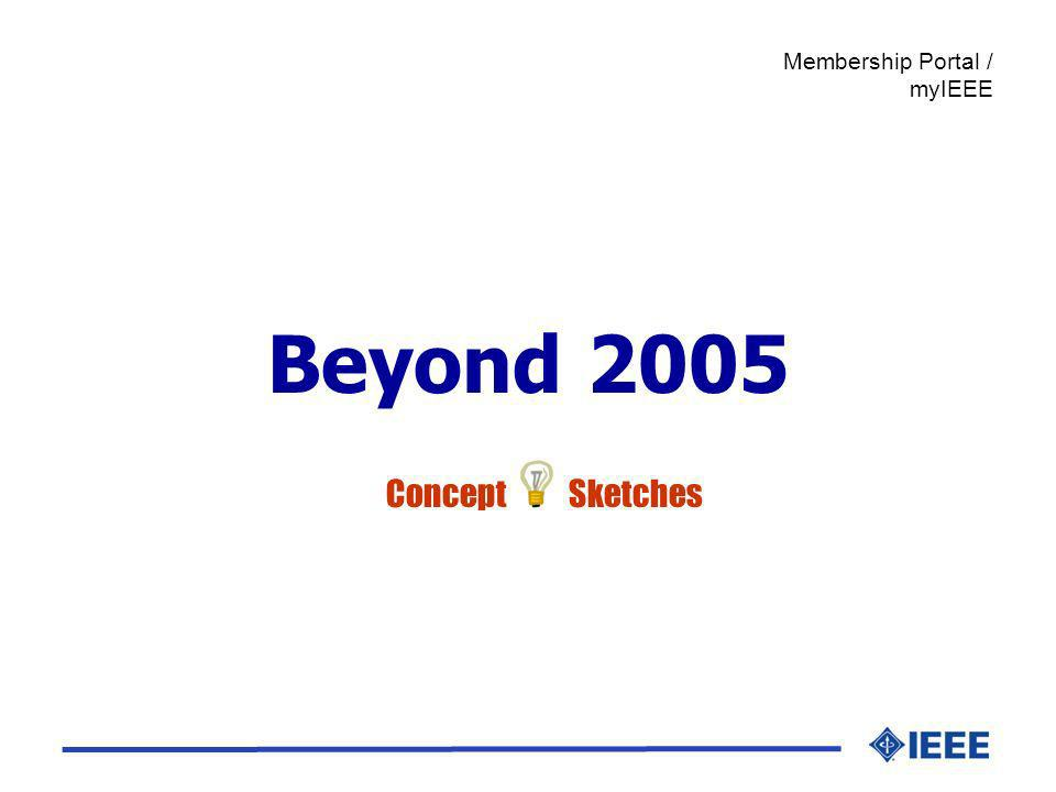 Beyond 2005 Membership Portal / myIEEE Concept Sketches