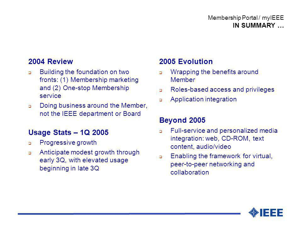 Membership Portal / myIEEE IN SUMMARY … 2004 Review Building the foundation on two fronts: (1) Membership marketing and (2) One-stop Membership servic