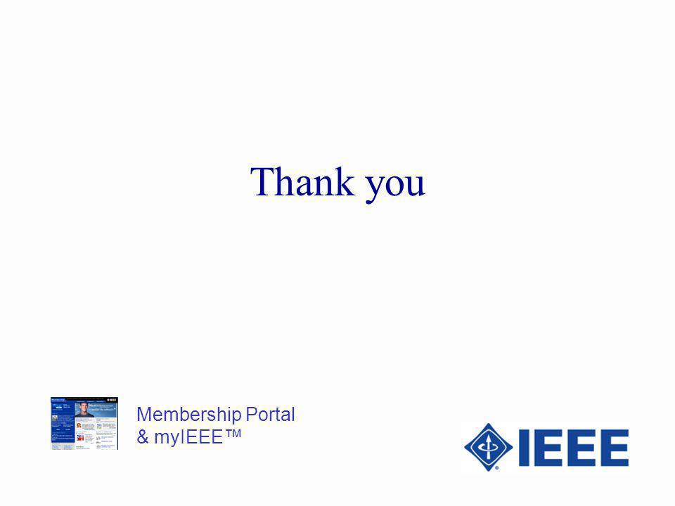 Membership Portal & myIEEE Thank you
